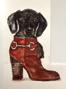 Pup in boot by Miller