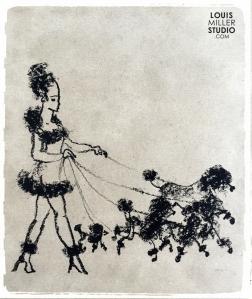 Girl walking her poodles
