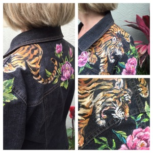 Tiger and peonies